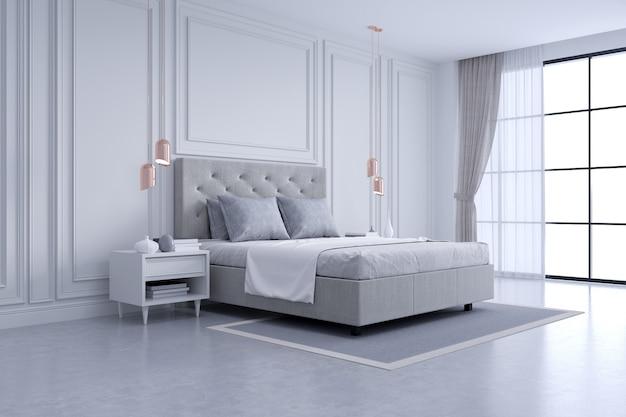 Modern en klassiek slaapkamer binnenlands ontwerp, wit en grijs ruimteconcept