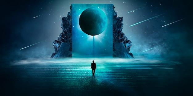 Modern futuristisch fantasienachtlandschap met abstracte eilanden en nachtelijke hemel met ruimtestelsels
