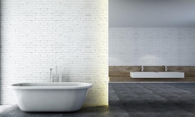 Modern, gezellig badkamerinterieur en meubeldecoratie en witte bakstenen muurpatroonachtergrond
