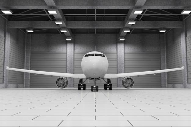 Modern hangarinterieur met binnen vliegtuig