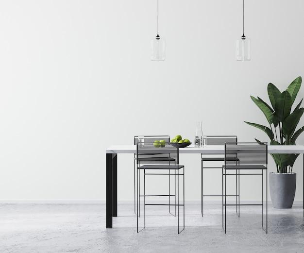 Modern helder wit kamerinterieur met eigentijdse bartafel en barkrukken, lege muur mock up, scandinavische minimalistische stijl, 3d-rendering