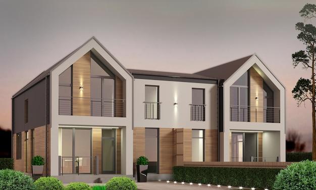 Modern herenhuis met terras en struiken