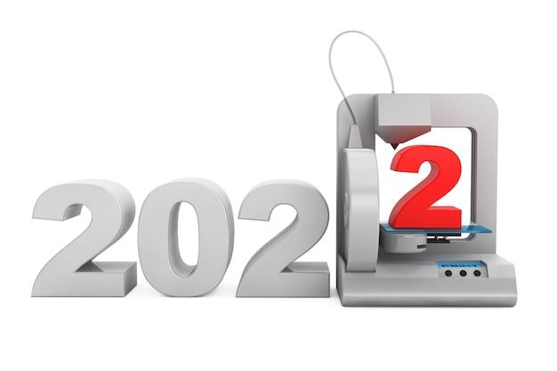 Modern home 3d-printer print nieuw 2022 jaar teken op een witte achtergrond. 3d-rendering