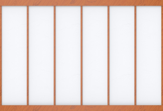 Modern houten frame op witte document muur backgorund.