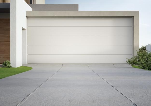 Modern huis en grote garage met betonnen oprit. 3d illustratie van woningbouwbuitenkant.