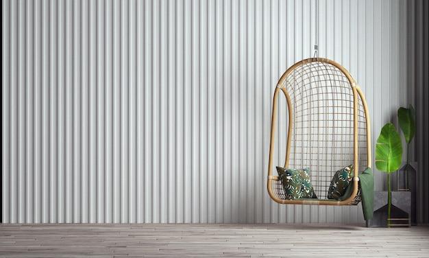 Modern huis en schommel stoel woonkamer en mock up meubilair interieur en witte muur textuur achtergrond