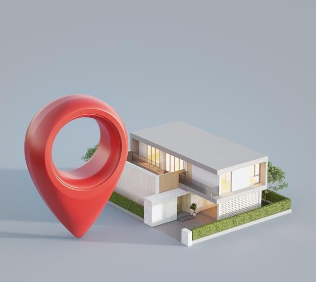 Modern huis met locatiepictogram op witte achtergrond in vastgoedinvesteringsconcept