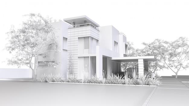 Modern huis. monochrome 3d illustratie van witte plastic huis en tuin met garage. 3d-weergave.