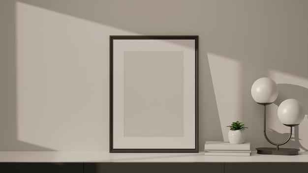 Modern huisinterieur met mock-up frame lampboeken en plantpot op marmeren bureau in de woonkamer