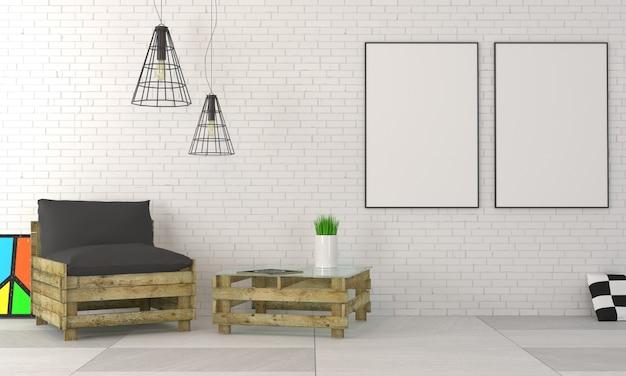 Modern interieur appartement in de stijl van een loft.