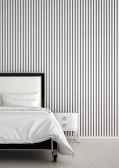 Modern interieur binnen van slaapkamer en dressoir en ladekast en houten tegel muur achtergrond