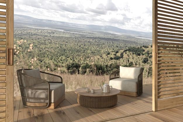 Modern interieur buitenterras met meubels en landschapsweergave 3d render illustratie
