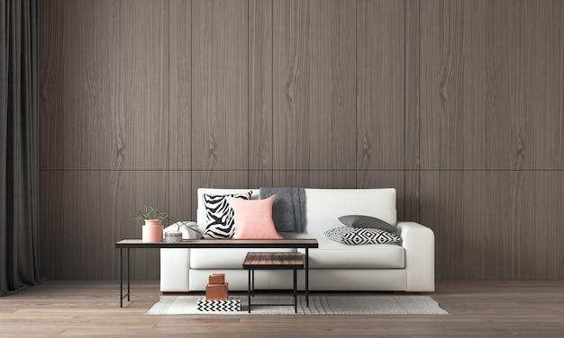 Modern interieur en mock up kamer van woonkamer en houten muur textuur