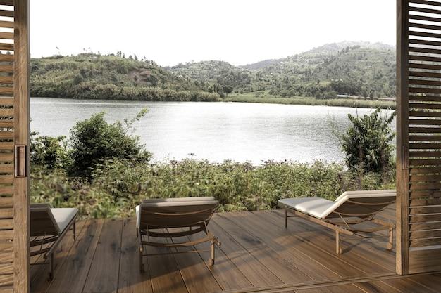 Modern interieur houten buitenterras met ligstoelen en uitzicht op het meer 3d render illustratie