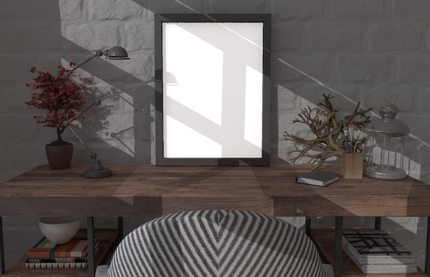 Modern interieur in 3d en moderne meubels