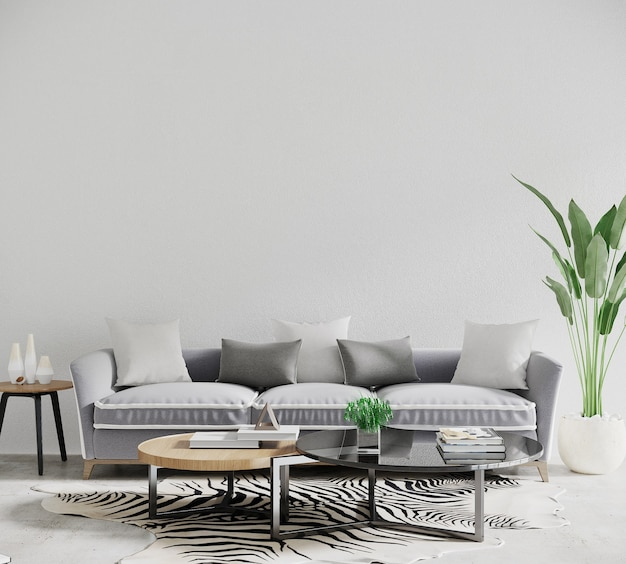 Modern interieur met bank en tafel en plant