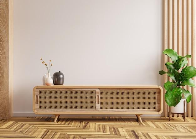 Modern interieur met kast voor tv op witte kleur muur achtergrond, 3d-rendering