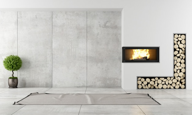 Modern interieur met open haard