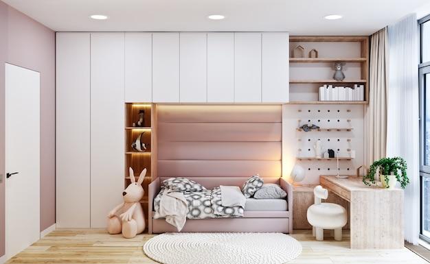 Modern interieur van de slaapkamer van het meisje in warme tinten beige. 3d-weergave