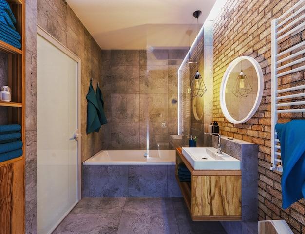 Modern interieur van een badkamer in zolder