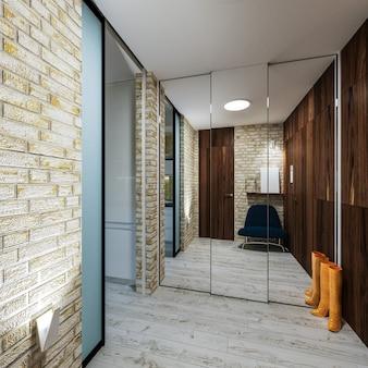 Modern interieur van een hal in zolder