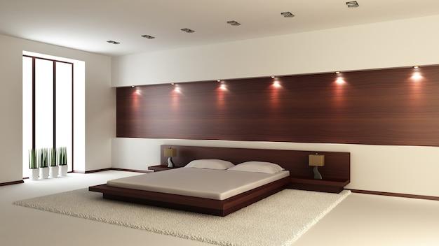 Modern interieur van een slaapkamer