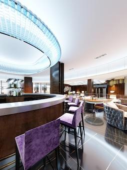 Modern interieur van gezellig bar-restaurant. eigentijds design in trendy stijl, moderne eetplaats en toog. 3d-rendering