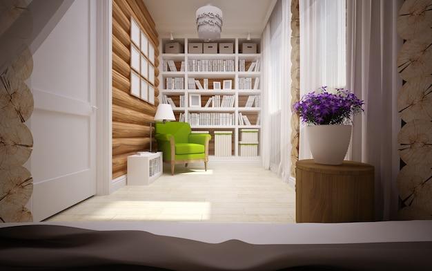 Modern interieur van houten huis