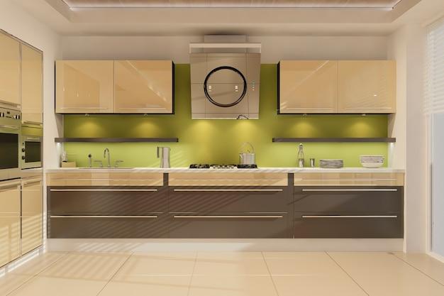 Modern interieur van keuken met woonkamer