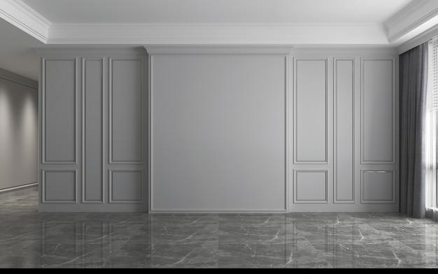 Modern interieur van leeg luxe woonkamerontwerp en grijze muurtextuurachtergrond, 3d-rendering