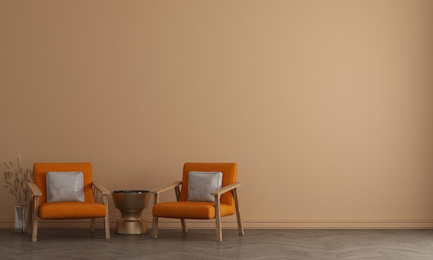 Modern interieur van lounge hal woonkamer en beige muur patroon achtergrond, 3d-rendering