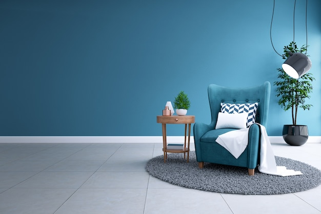 Modern interieur van woonkamer, blauwdruk home decor concept, blauwe bank en zwarte lamp op witte vloeren en donkere blauwdruk muur, 3d-rendering