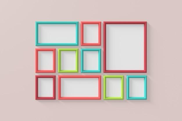 Modern kader aan de muur. 3d-weergave