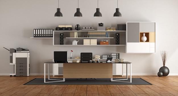 Modern kantoor met bureau en boekenkast