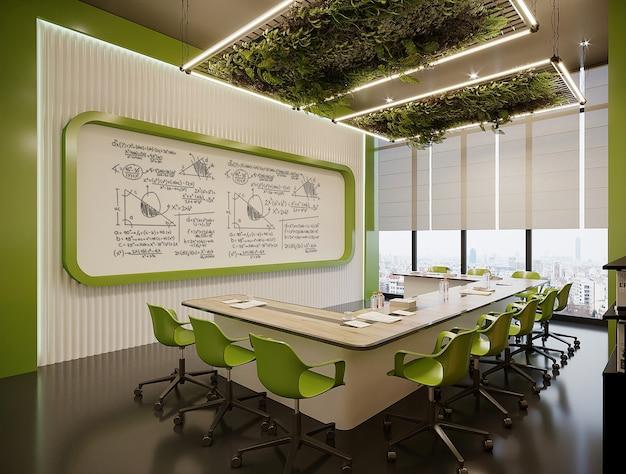 Modern kantoor met tafel en groene stoelen gratis