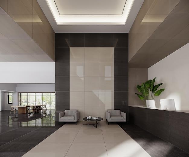 Modern kantoorinterieur met lobby-receptie-ontwerp