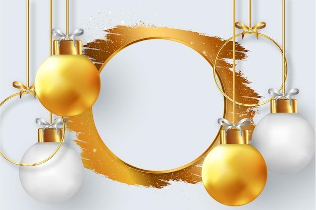 Modern kerstkaartbehang met gouden penseelstreek