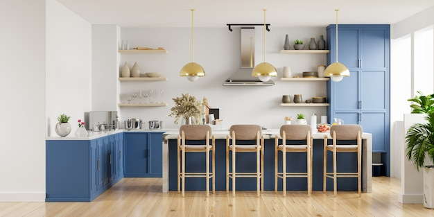 Modern keukenbinnenland met meubels. stijlvol keukenbinnenland met witte muur. 3d-weergave