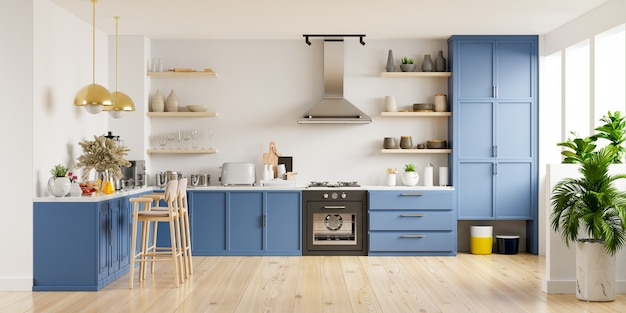 Modern keukenbinnenland met meubilair. stijlvol keukenbinnenland met witte muur. 3d-weergave