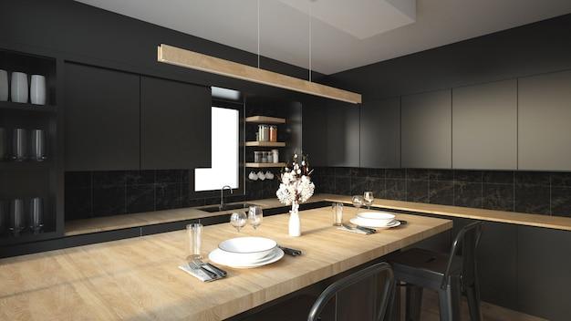 Modern keukenbinnenland met meubilair.