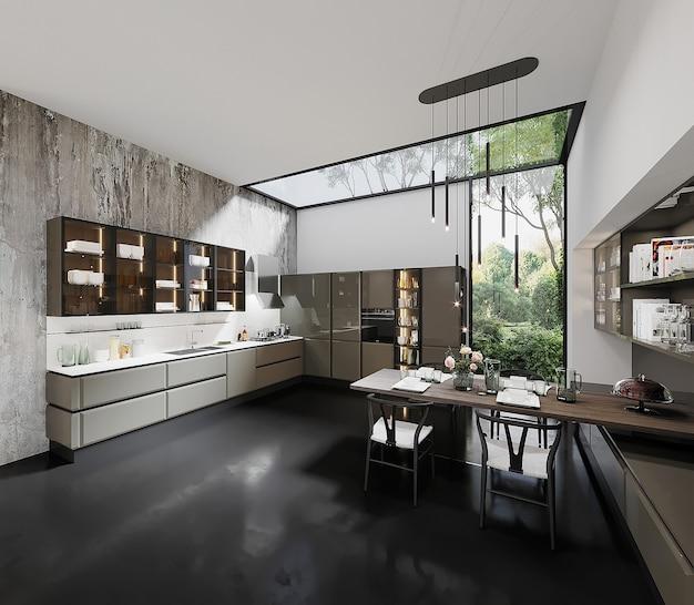 Modern keukenontwerp met tafel en stoel