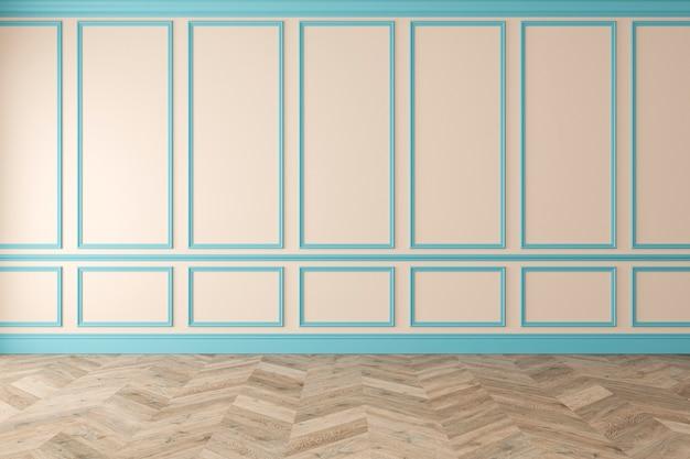 Modern klassiek beige, blauw, pastel, leeg interieur met wandpanelen en houten vloer. 3d render illustratie mockup.