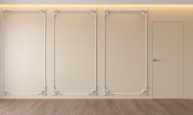 Modern klassiek beige interieur met stucwerk deur houten vloer plafond verlicht