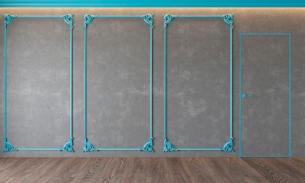 Modern klassiek grijs interieur met stucwerk, blauw lijstwerk, architectuur beton, beton, deur, houten vloer