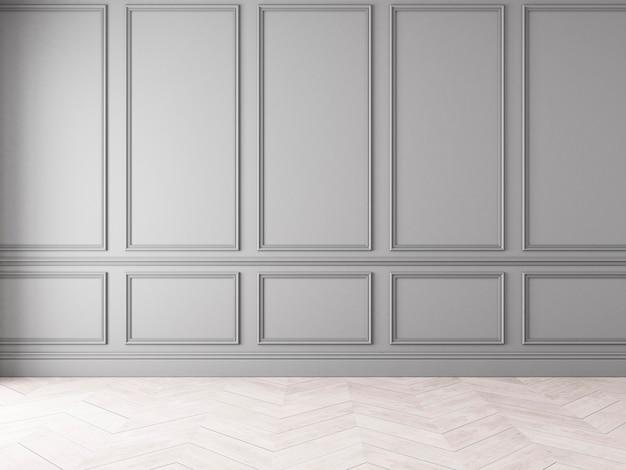 Modern klassiek grijs leeg interieur met wandpanelen en houten vloer. 3d render illustratie mock up.