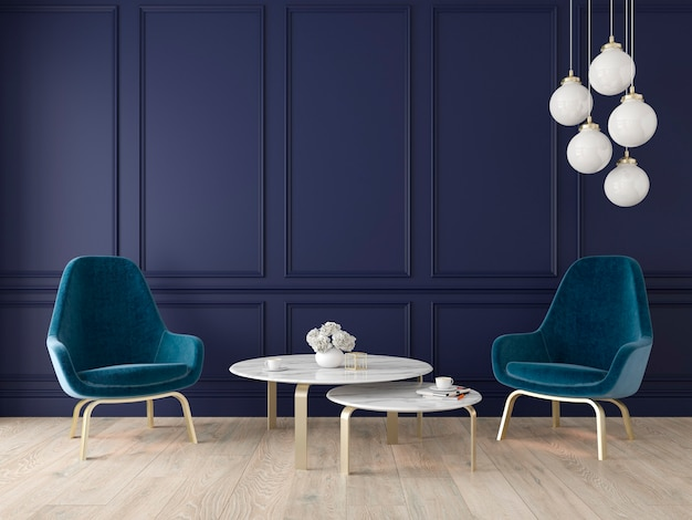 Modern klassiek interieur met fauteuils, lamp, tafel, wandpanelen en houten vloer. 3d render illustratie.