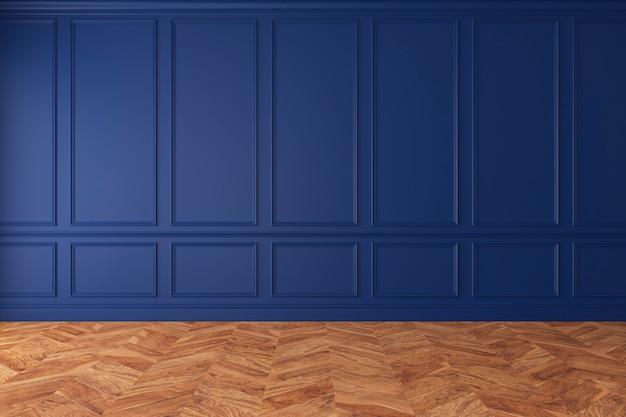 Modern klassiek koningsblauw leeg interieur met wandpanelen en houten vloer. 3d render illustratie mockup.