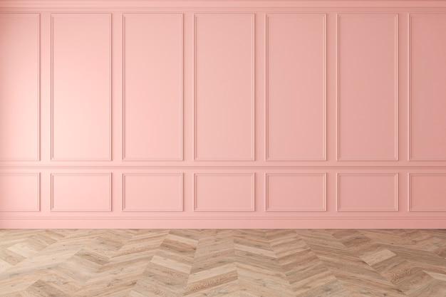 Modern klassiek roze, rozenkwarts, pastel, leeg interieur met wandpanelen en houten vloer. 3d render illustratie mockup.