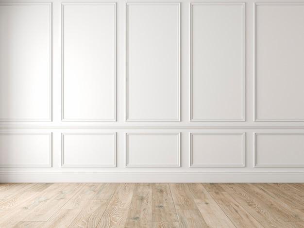 Modern klassiek wit leeg interieur met wandpanelen en houten vloer. 3d render illustratie mock up.