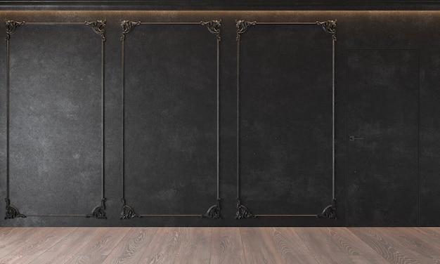 Modern klassiek zwart interieur met stucwerk deur houten vloer plafond verlicht
